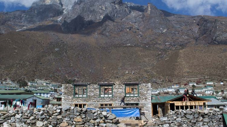 While most teahouses on the Everest route were unaffected, damaged lodges are being rebuilt. // © 2015 Mindy Poder