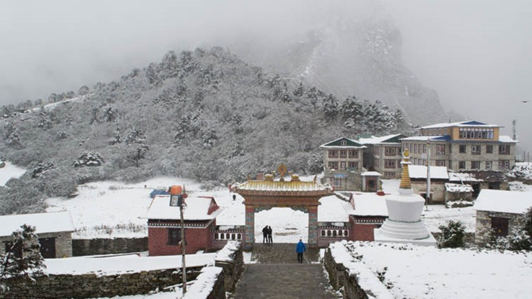 Outside of Tengboche Monastery in the snow // © 2015 Mindy Poder