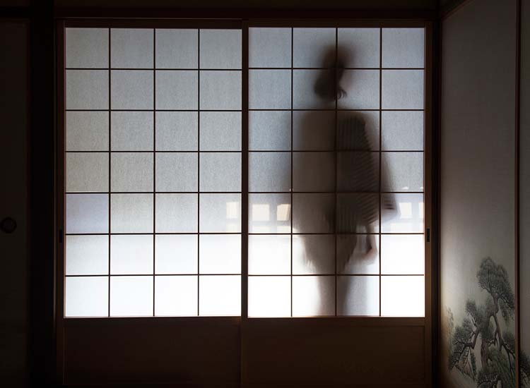 A woman in a traditional yukata walks the hallway outside a shoji-screened room in Hosokute's Daikokuya ryokan.  // © 2014 Mark Edward Harris