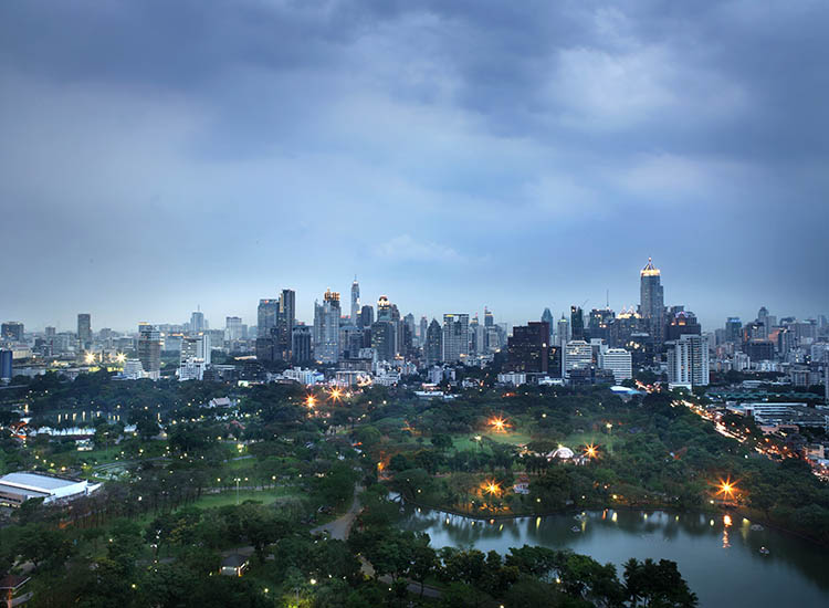 Much of the hotel overlooks the 142-acre Lumpini Park. // © 2017 SO Sofitel Bangkok