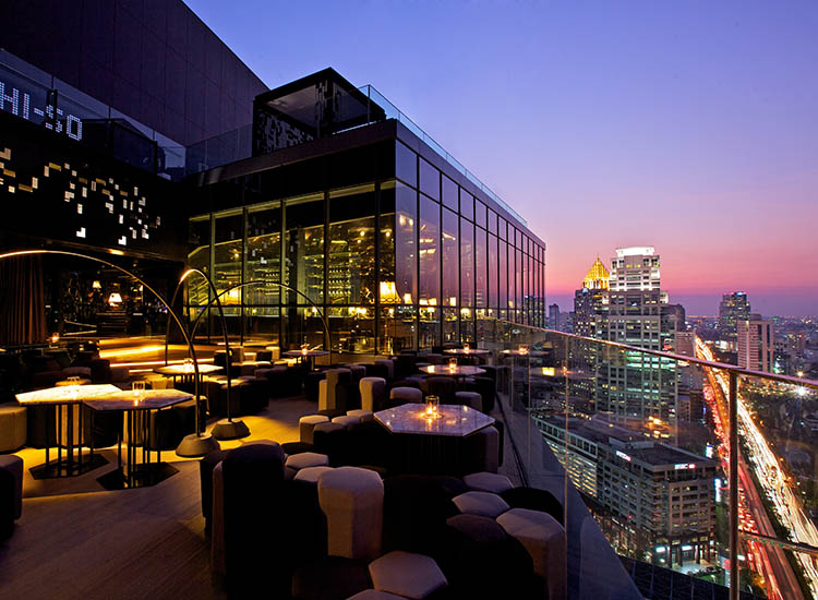 After a meal at fine-dining restaurant Park Society, mingle with Bangkok's elite set at the adjoining Park Society Terrace or Hi-So Rooftop Bar. // © 2017 SO Sofitel Bangkok