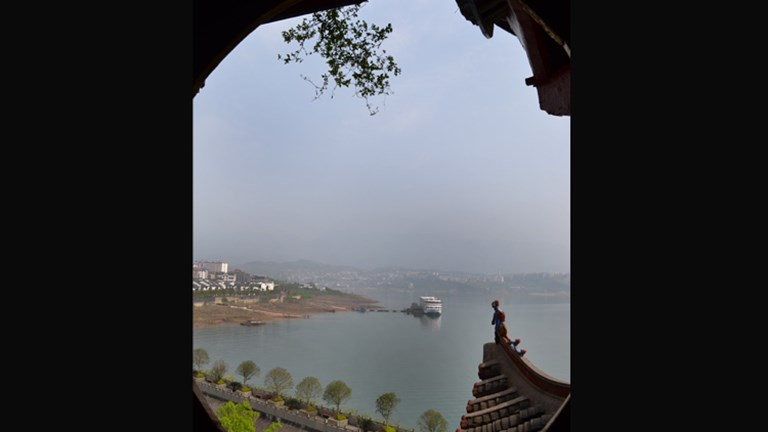 The view from the pagoda is of the Yangtze River. // © 2013 Mindy Poder
