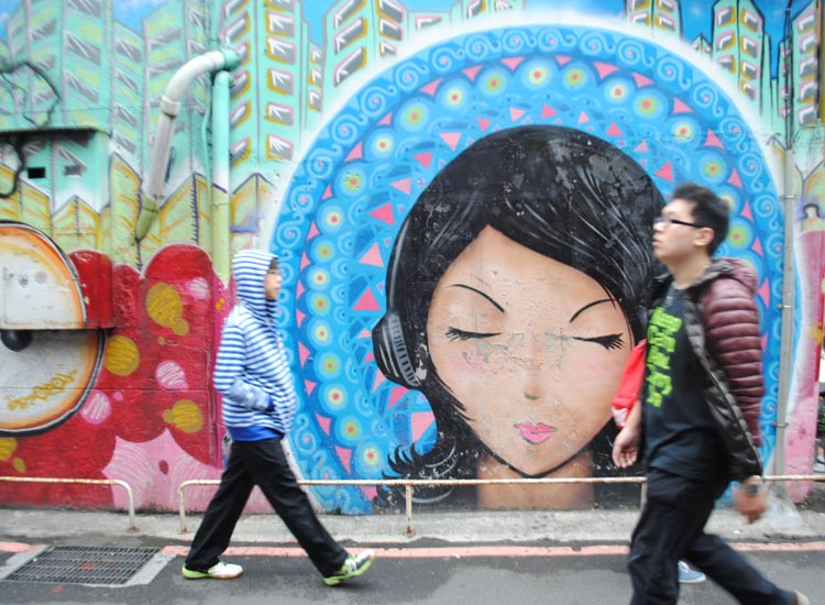 For a more youthful vibe, visit the energetic Ximending neighborhood and explore its side streets for street art. // © 2014 Mindy Poder