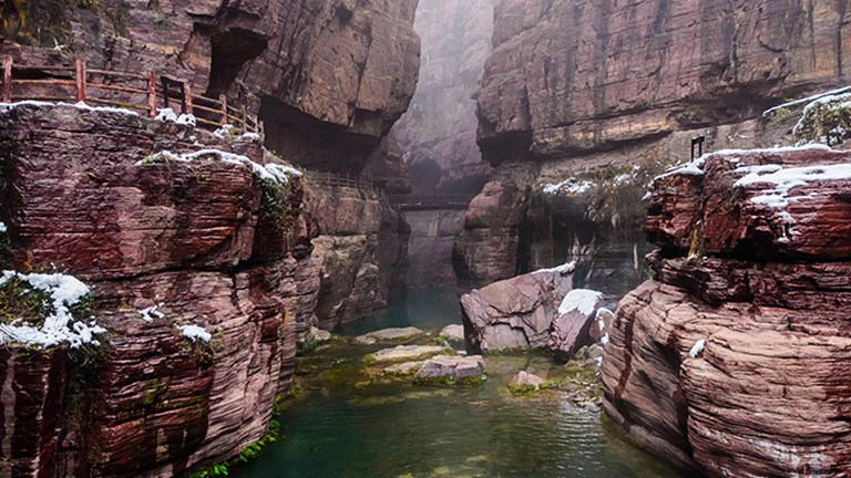Hongshi Gorge looks mystical in both summer and winter. // © 2016 Henan Tourism