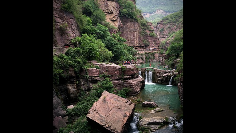 Hongshi Gorge, known as Red Stone Gorge, is just one of 11 stunning scenic areas at Yuntai Mountain. // © Michelle Juergen