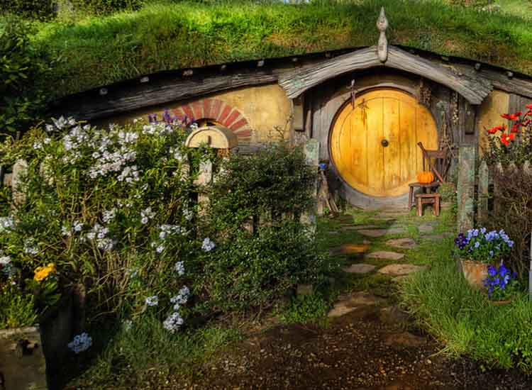 "While reconstructing the Hobbiton set for the filming of ""The Hobbit"" trilogy, builders used permanent materials in order to preserve the set as a tourist destination. // © 2014 Air New Zealand"