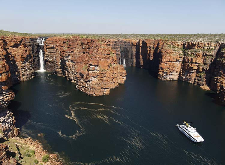 Taking an air safari of the Kimberley Aerial Highway includes such highlights as the King George Falls. // © 2015 Tourism Western Australia