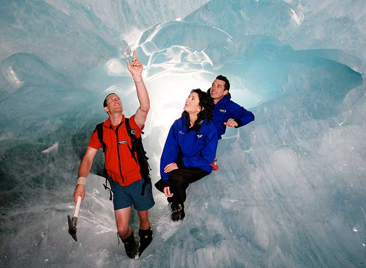 After a self-drive, they got ready for a guided heli-hike in Franz Josef Glacier, where they saw glacier ice caves, pinnacles and seracs. // © 2014 Flickr/NZGlacierGuides