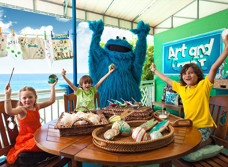 "Many all-inclusive brands feature interactions with children's characters, such as those from the popular television series ""Sesame Street."" // © 2016 Beaches Resorts"