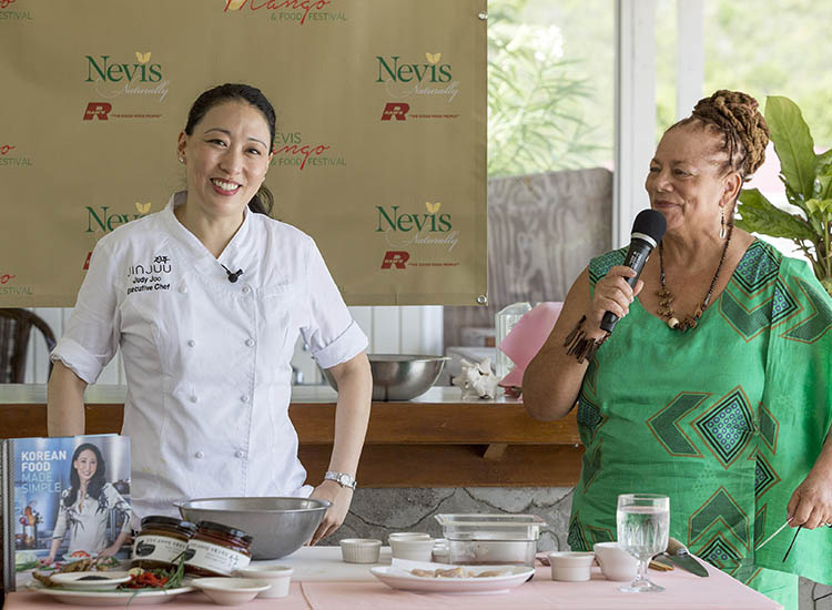 Chef Judy Joo at the 2016 Nevis Mango & Food Festival // © 2016 Paul Shoul