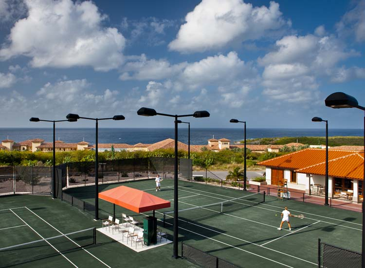 Tafelberg Tennis Oasis contains the Caribbean region's only HydroGrid clay courts. // © 2014 Santa Barbara Beach & Golf Resort