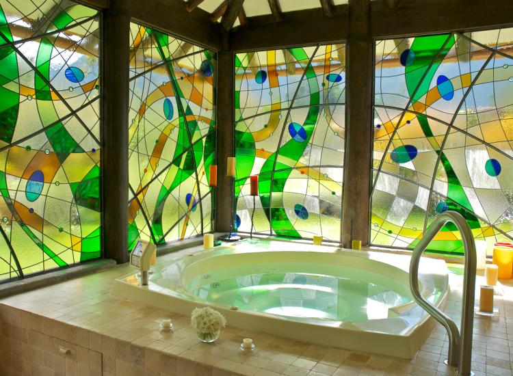 Sol & Luna's spa offers stained-glass windows and an array of massage treatments. // © 2014 Sol & Luna Lodge and Spa