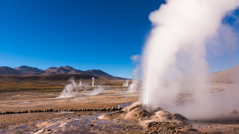 Chile has a beautifully diverse geography, including geysers near San Pedro de Atacama that make for an eerie sight. // © 2017 Getty Images