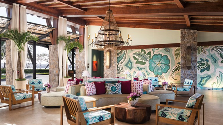 A handcrafted Tico mosaic impresses guests in the chic, colorful lobby. // © 2015 Four Seasons Resort Costa Rica at Peninsula Papagayo