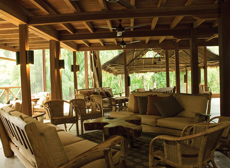 The lodge lobby at Hacienda Concepcion is open and airy, giving guests a view of surrounding beauty. // © 2014 Inkaterra