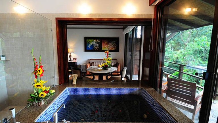 At the 103-room Tabacon Thermal Resort & Spa in Costa Rica, guestrooms bring the outdoors in. // © 2017 Tabacon Thermal Resort & Spa