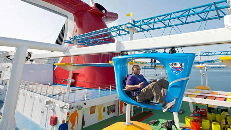 Passengers can work off all that food with a trip or two on the SkyRide.