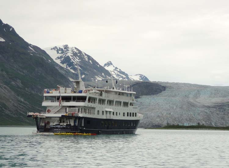 Un-Cruise Adventures' Safari Endeavour anchored in Reid Inlet in Glacier Bay National Park, Alaska, during a recent Discoverers' Glacier Country cruise.  // © 2014 Dennis Sides