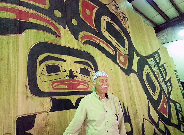 While in Hoonah, visit Huna Tlingit master carver Gordon Greenwald to see work progress on an installation for the Glacier Bay National Park & Preserve visitor center. // © 2014 Monica Poling