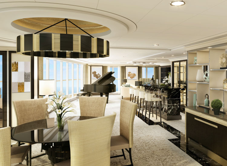 The Regent Suite on Explorer will be one of the largest suites at sea. // © 2016 Regent Seven Seas Cruises