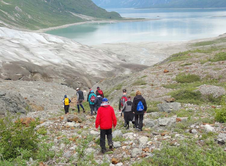 The magnificent vista of Reid Inlet stretched out as hikers made their way down from the glacier. // © 2014 Dennis Sides