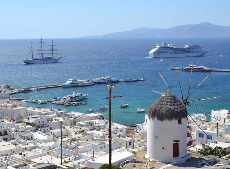 Mykonos' windmills were originally constructed by the Venitians in the 16th century. // © 2013 Skye Mayring