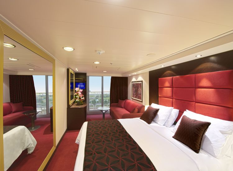 Divina has 1,097 Balcony Staterooms of approximately 148-200 square feet, plus 34- to 124-square-foot balconies. There are also 28 Balcony Staterooms for guests with disabilities. // © 2013 MSC Cruises