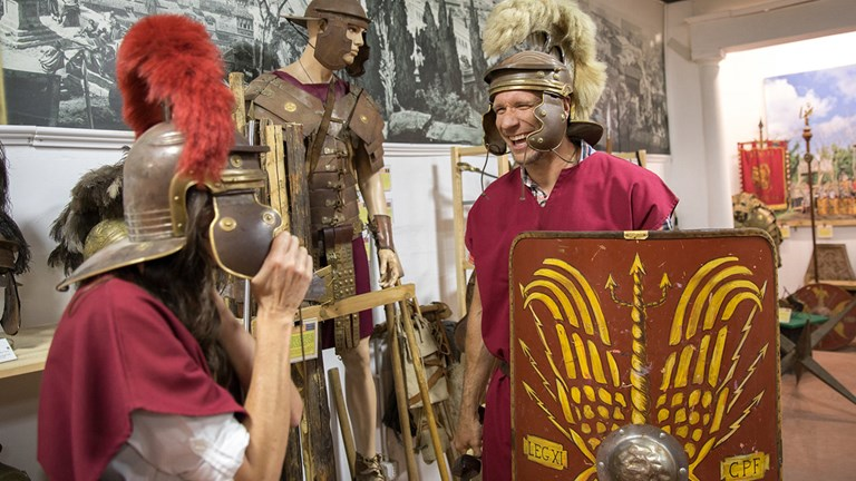 During Royal Caribbean's gladiator experience in Rome, passengers do some hands-on learning.