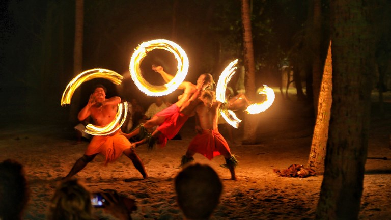 A fire-dancing show with Windstar.