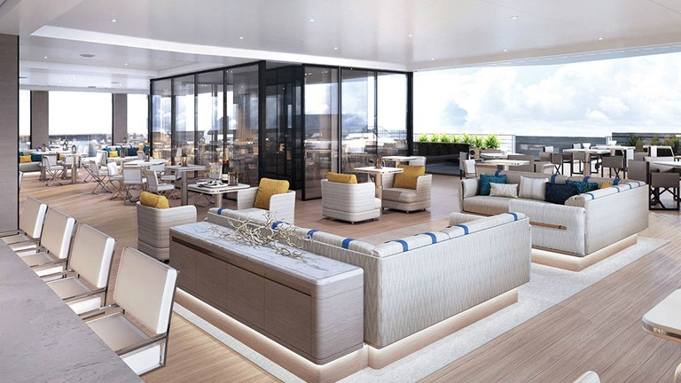 The stylish, yet comfortable, setting of the Marina Lounge will give passengers on The Ritz-Carlton Yacht Collection a place to socialize.