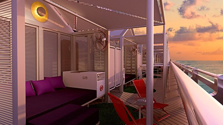An Athletic Club Cabana onboard Virgin's Scarlet Lady.