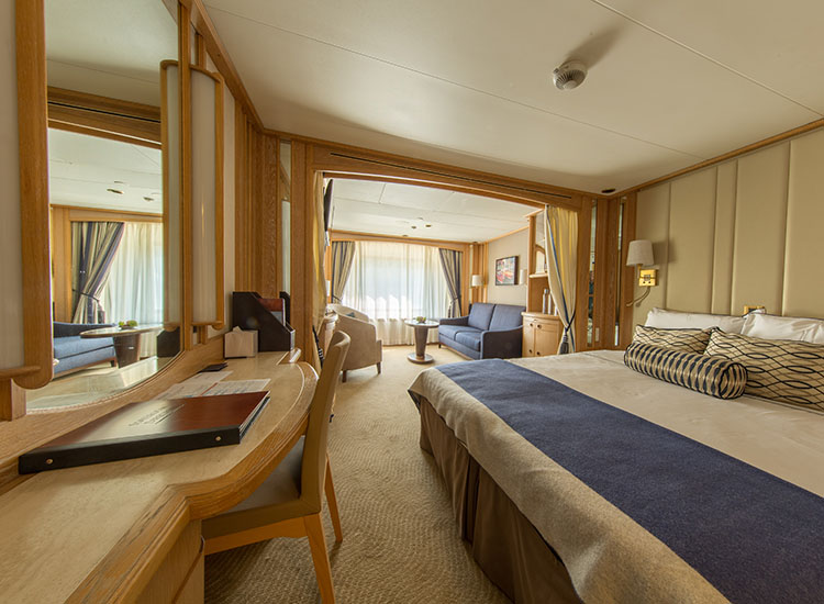 Compared to Windstar's sailing ships, the all-suite Star Legend has more spacious accommodations. // © 2016 Windstar Cruises