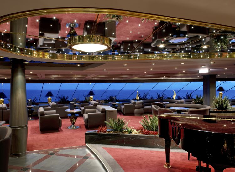 The Top Sail Lounge is part of the exclusive Yacht Club, a 69-suite ship-within-the-ship. // © 2013 MSC Cruises