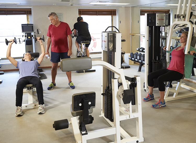 Guests have complimentary access to the onboard fitness center, and a selection of free daily classes with the onboard fitness instructor are also available.// © 2016 Windstar Cruises