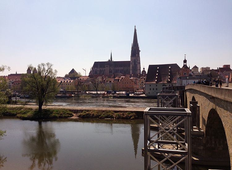 When spending a day in Regensburg, Germany, check out Stone Bridge into Old Town, the city's only bridge across the Danube River until the 1930s. // © 2015 Michelle Juergen