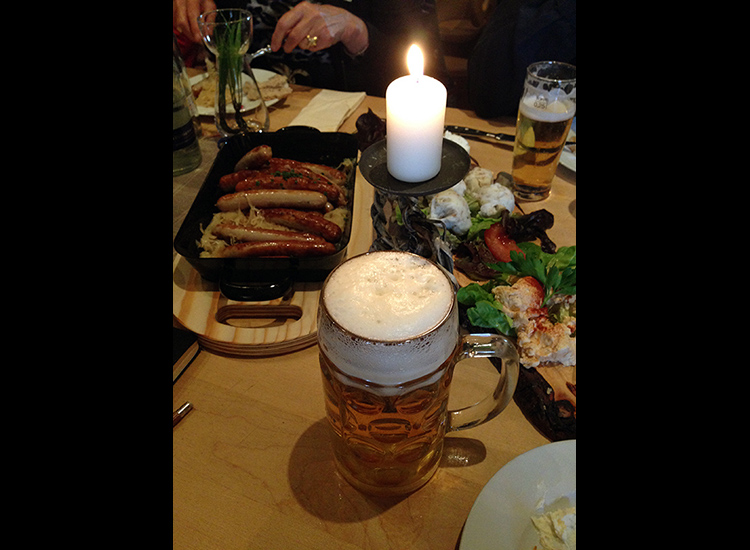 Bratwurst, weisswurst, sauerkraut and cold beer at Weltenburger am Dom // © 2015 Michelle Juergen