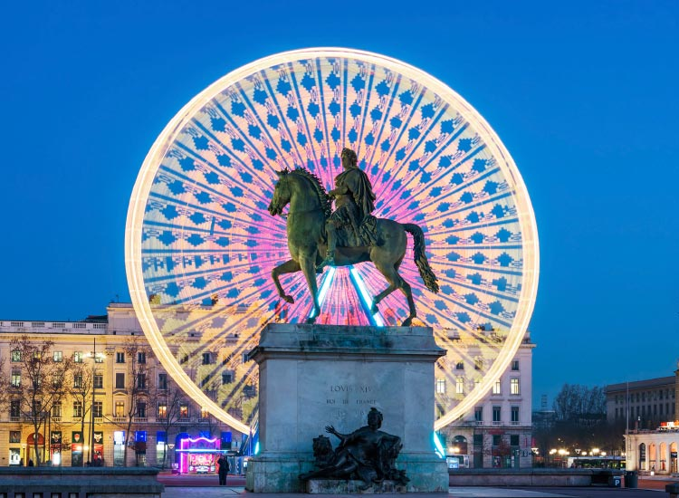Lyon's Place Bellecour, with its statue of King Louis XIV // © 2015 iStock