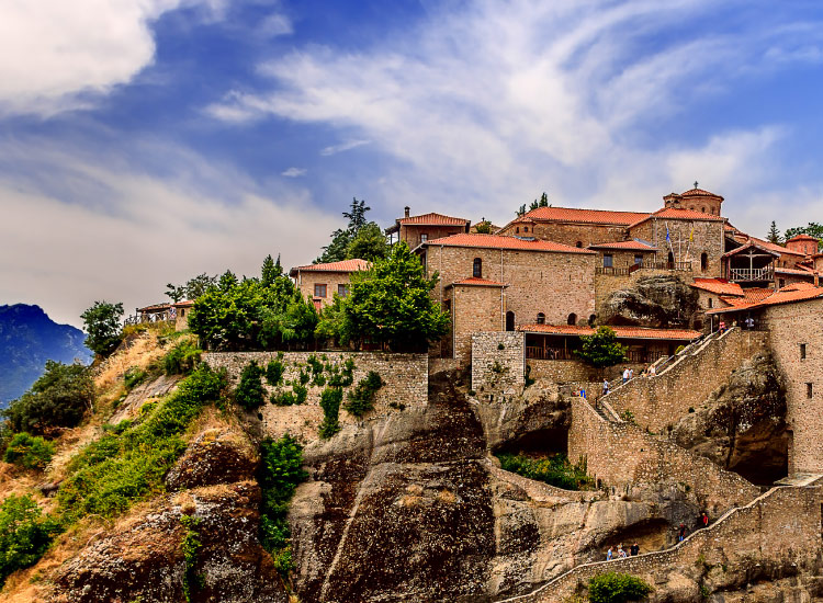 The 14th-century Meteora Monasteries in Greece are home to Greek Orthodox Christian monks. // © 2017 iStock