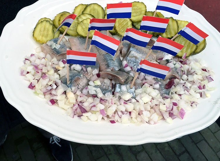 Try the popular Dutch dish of pickled herring at the Vis Plaza fish shop. // © 2016 Valerie Chen