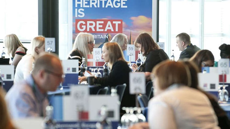 More than 245 delegates from U.K. travel companies and 228 international buyers met for one-on-one meetings and networking during this year's Hosted Buyers Marketplace. // © 2014 VisitBritain