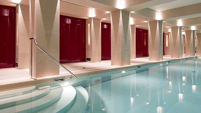 Guests can leisurely swim laps at the indoor 52-foot pool. // © 2015 La Reserve Paris Hotel and Spa