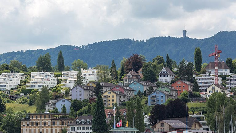 Beautiful pastel homes and hillside vineyards dot the landscape surrounding Lake Zurich. // © 2018 Ben McBee