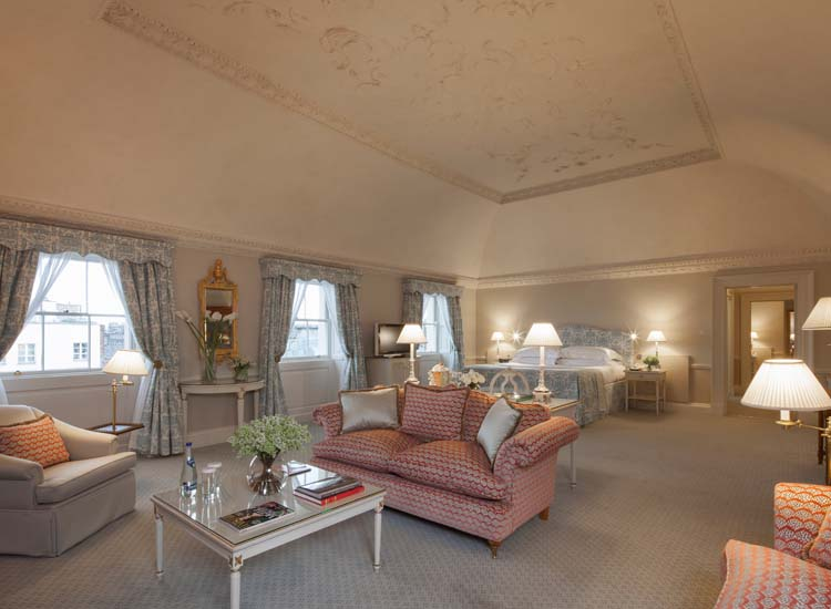 The Lord Monck Suite features painstakingly restored original rococo plasterwork and views of The Merrion's private gardens. // © 2015 The Merrion