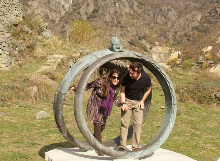 The rings at Akhtala Monastery are a popular photo op for couples. // (c) Devin Galaudet