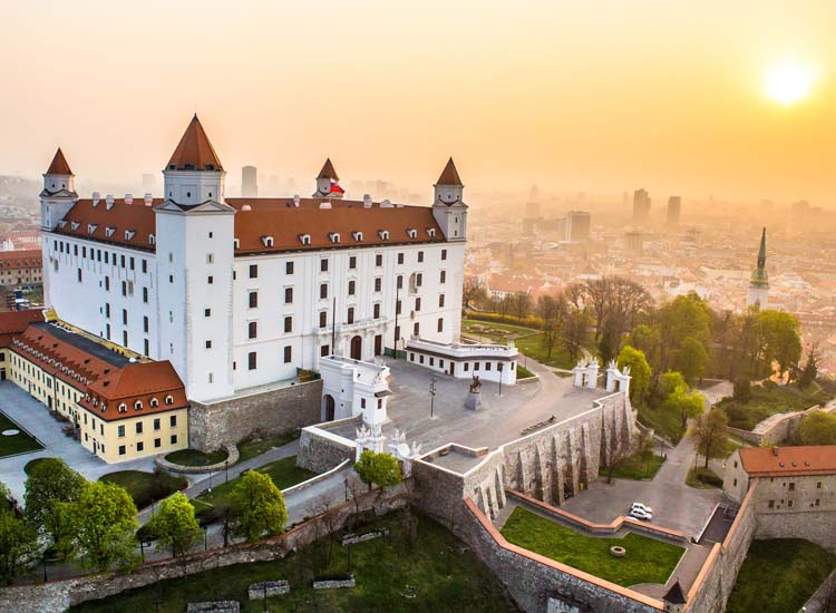 Bratislava Castle offers picturesque city views from its perch atop Aueous Hill, and though it is a replica of the original, destroyed by a fire long ago, the new structure is one of many must-see landmarks in Bratislava, Slovakia. // © 2014 Courtesy Bratislava Tourist Board