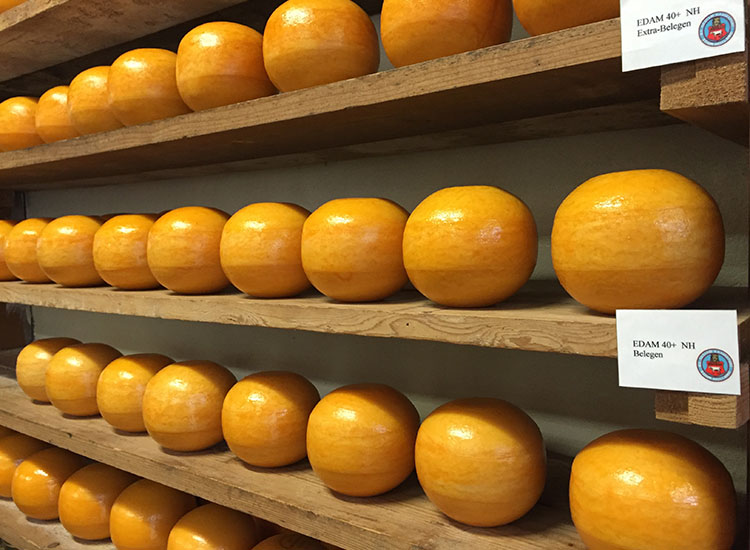 Edam cheese is packed in rounded cylinders and has a red rind. // © 2016 Valerie Chen