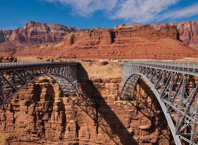 The Navajo Steel Arch Bridge crosses Marble Canyon in Northern Arizona; Honorable Mention, 2012 TravelAge West reader photo contest // © 2012 Nathan DePetris