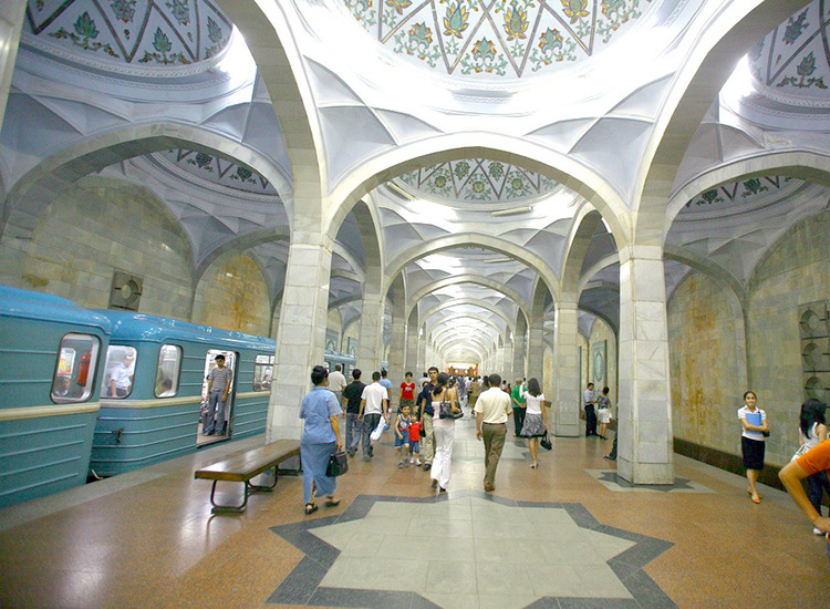 Explore some of the world's most beautiful metro stations, beginning with the elegant Alisher Navoi station in Tashkent. // © 2014 Creative Commons user 24105644@N03