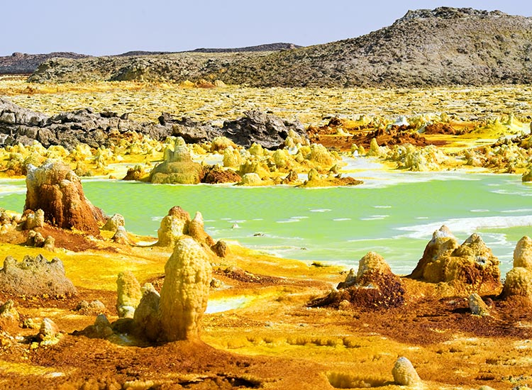 The abandoned town of Dallol is located in northern Ethiopia's Afar Depression (also known as the Danakil Depression). // © 2016 iStock