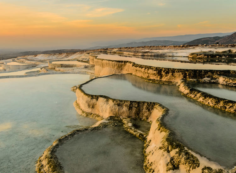 The hot springs and travertines in Pamukkale, Turkey, are a popular natural attraction. // © 2015 iStock